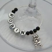Robot Personalised Wine Glass Charm